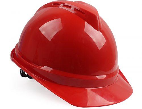 梅思安 10172479 ABS有孔安全帽红色带透气孔帽壳 灰针织吸汗带 D型下颚带