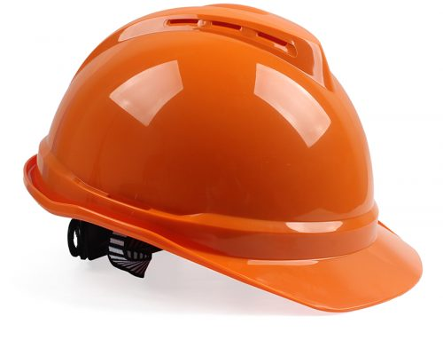 梅思安 10172478 ABS有孔安全帽橙色带透气孔帽壳 灰针织吸汗带 D型下颚带