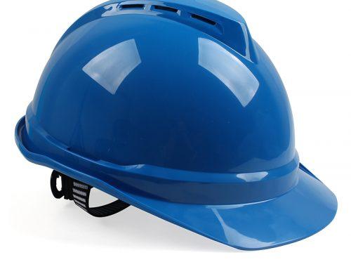 梅思安 10172480 ABS有孔安全帽蓝色带透气孔帽壳 灰针织吸汗带 D型下颚带