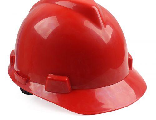 梅思安10146461标准型PE红色安全帽一指键帽衬针织布吸汗带D型下颌带